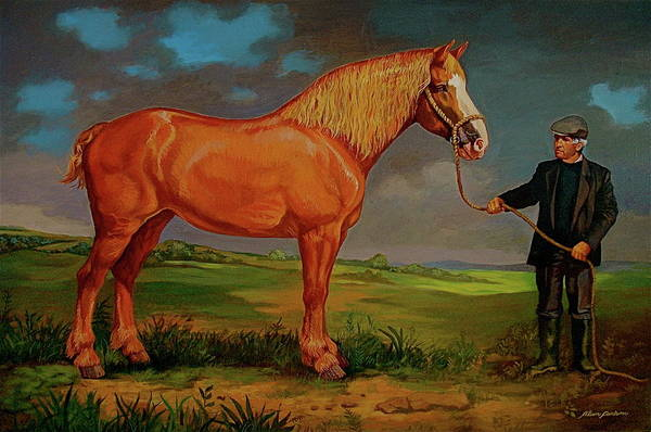 Belgian Draft Horse Irish Green Country. Art Print featuring the painting Belgian Draft Horse. by Alan Carlson