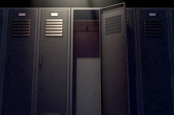 Locker Art Print featuring the digital art Locker Row And Open Door 2 by Allan Swart