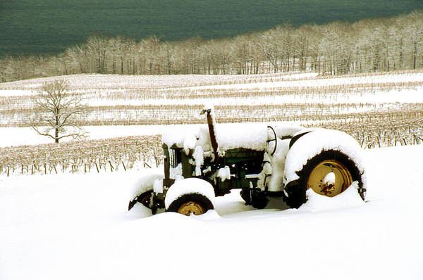 Art Print featuring the photograph Tractor In Snowy Vineyard by Roger Soule