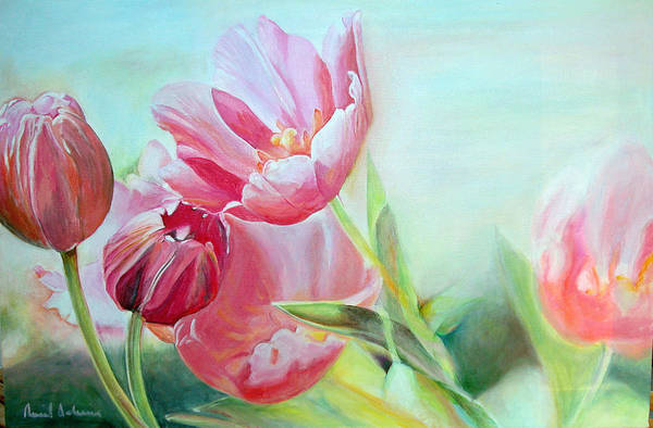 Floral Painting Art Print featuring the painting Tulipes by Muriel Dolemieux