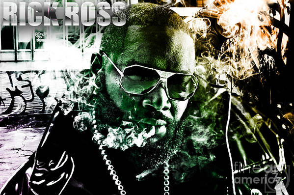 Rick Ross Print featuring the digital art Rick Ross by The DigArtisT