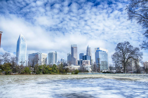 Snow Art Print featuring the photograph Snow And Ice Covered City And Streets Of Charlotte Nc Usa by Alex Grichenko