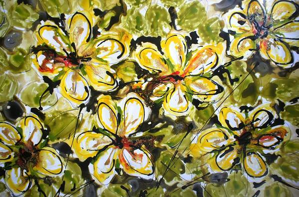 Flowers Art Print featuring the painting Divine Blooms by Baljit Chadha