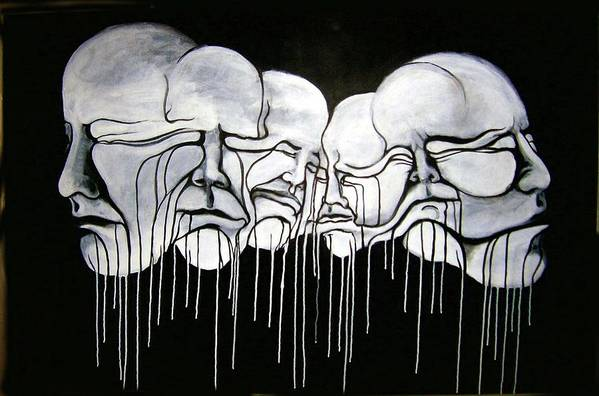 Faces Art Print featuring the painting 6 Faces by Stephen Barry