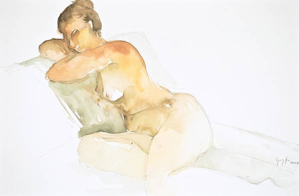 Art Print featuring the painting Nude Series by Eugenia Picado