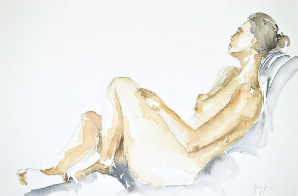 Nude Woman Art Print featuring the painting Nude Series by Eugenia Picado