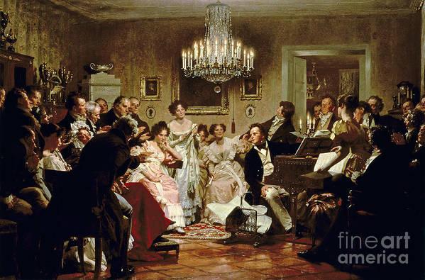 A Schubert Evening In A Vienna Salon By Julius Schmid (1854-1935) Art Print featuring the painting A Schubert Evening In A Vienna Salon by Julius Schmid