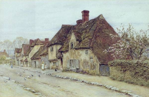 Cottage; Mother And Child; Rural Scene; Country; Countryside; Home; Path; Chicken; Picturesque; Idyllic; Daughter; Street; Row Of Houses; Female Art Print featuring the painting A Village Street Kent by Helen Allingham
