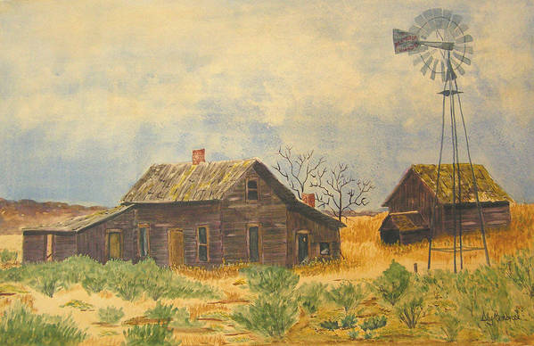 Farm Art Print featuring the painting Abandoned Farm by Ally Benbrook