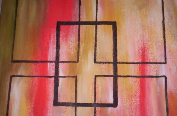 Art Print featuring the painting Abstract Squares by Becca Haney