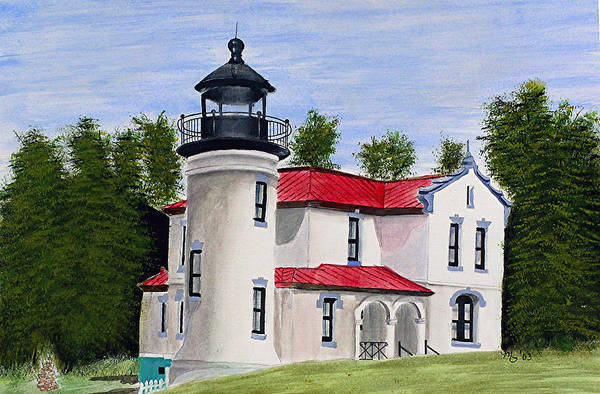 Painting Art Print featuring the painting Admiralty Head Lighthouse by Mary Gaines