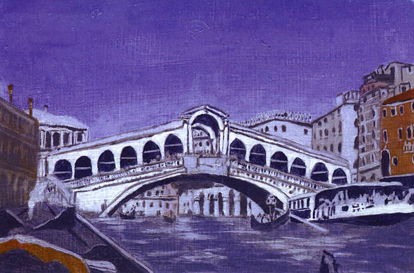 Landscape Art Print featuring the painting After Canal Grande With The Rialto Bridge by Hyper - Canaletto