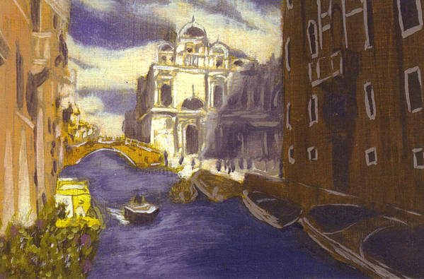 Landscape Art Print featuring the painting After Church Of Santi Giovanni E Paolo With The School Of St. Mark by Hyper - Canaletto