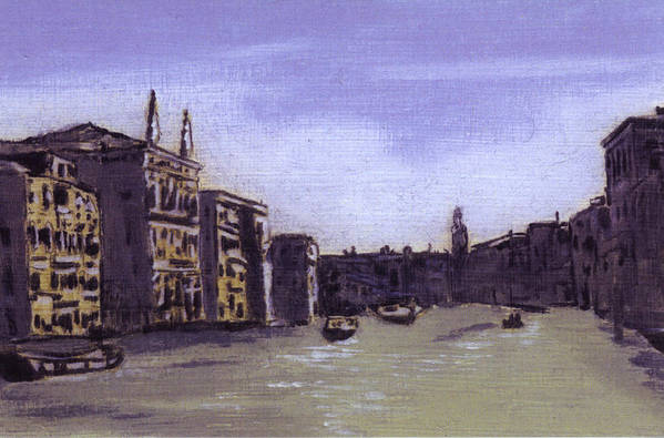 Landscape Art Print featuring the painting After The Grand Canal From Campo San Vio Near The Rialto Bridge by Hyper - Canaletto