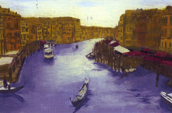 Landscape Art Print featuring the painting After The Grand Canal From The Rialto Bridge by Hyper - Canaletto