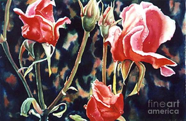 Roses Art Print featuring the painting After The Rain by Gail Zavala