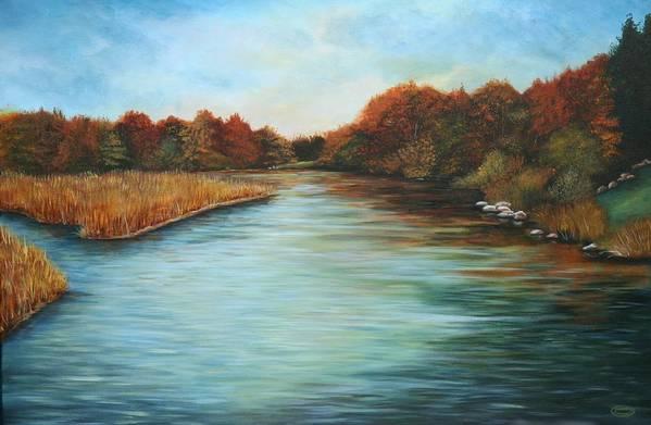 Original Acrylic Landscape Art Print featuring the painting Ajax Marsh by Sharon Steinhaus