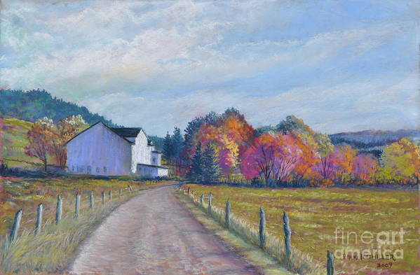 Paintings Of Farms In Fall Art Print featuring the painting Almost Home by Penny Neimiller