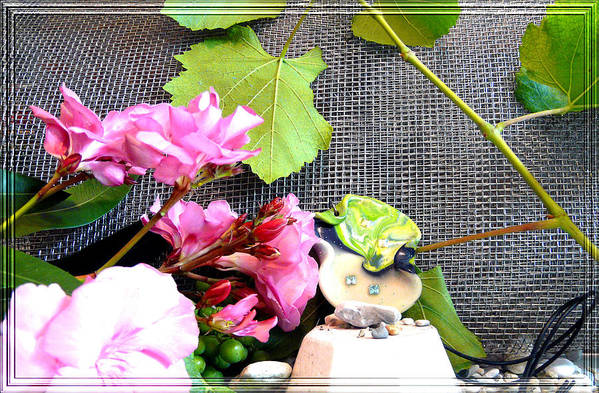Flower Art Print featuring the photograph Among Leaves And Flowers by Chara Giakoumaki