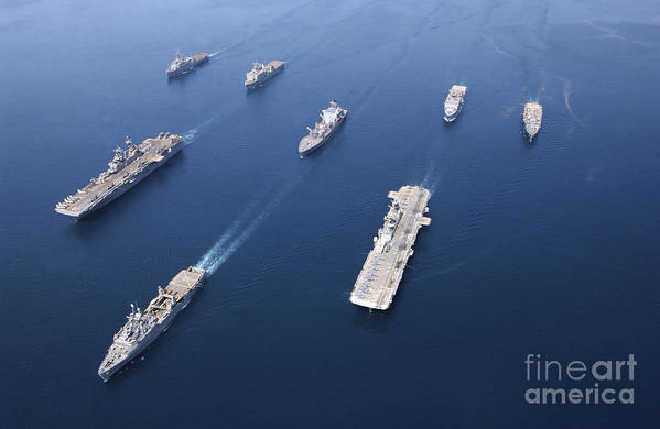 Color Image Art Print featuring the photograph Amphibious Task Force-west In Formation by Stocktrek Images