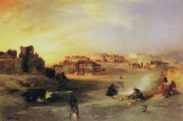 An Indian Pueblo Print featuring the painting An Indian Pueblo by Thomas Moran