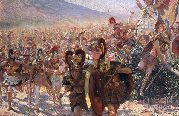 Ancient Warriors (oil On Canvas) By Georges Marie Rochegrosse (1859-1938) Art Print featuring the painting Ancient Warriors by Georges Marie Rochegrosse