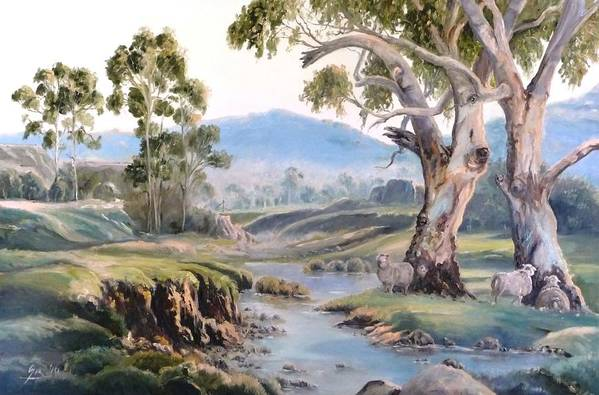 Landscape Art Print featuring the painting Another Australia Day by Diko