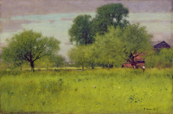 Apple Art Print featuring the painting Apple Orchard by George Snr Inness