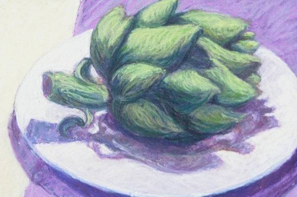 Still Life Art Print featuring the painting Artichoke On A White Plate by Dolores Holt