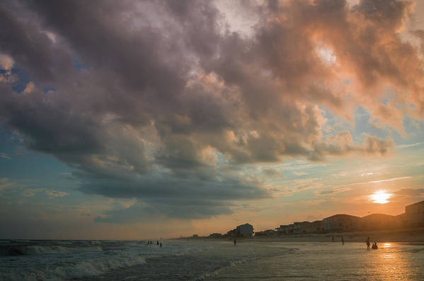 Beach Art Print featuring the photograph August Skies Over Ocean Isle Beach by Gerald Monaco