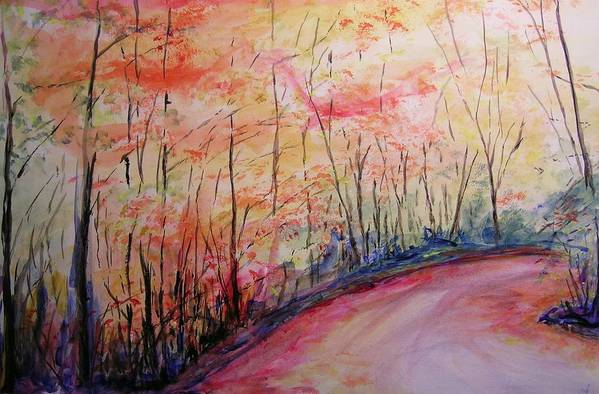 Landsape Art Print featuring the painting Autumn Lane II by Lizzy Forrester