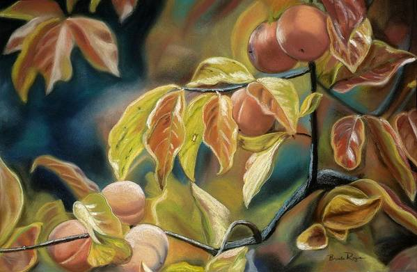 Autumn Art Print featuring the painting Autumn Peaches by Brenda Williams