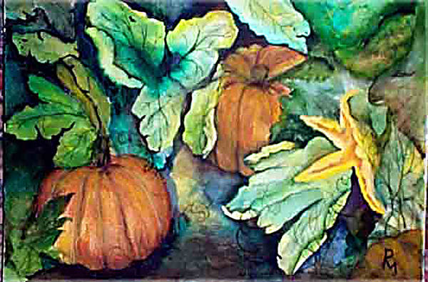 Pumpkins Art Print featuring the painting Baby Pumpkins by Patricia Merewether