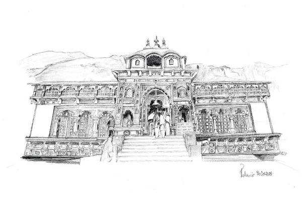 Landscape Art Print featuring the drawing Badrinath by Padamvir Singh