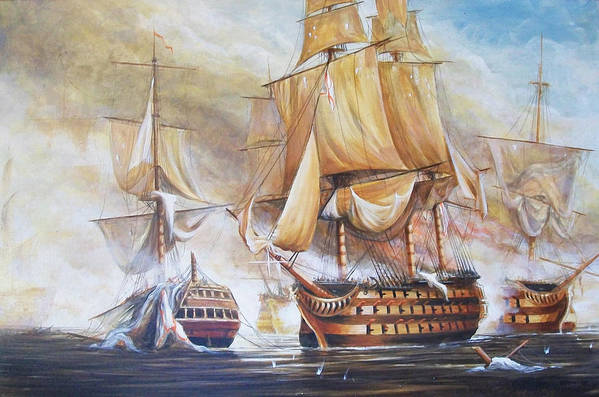 Seascape Art Print featuring the painting Battle Of Trafalger by Perrys Fine Art