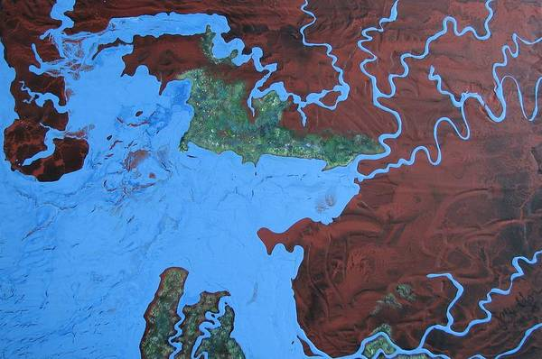 Map Art Print featuring the painting Bauxite And Water by Joan Stratton