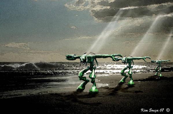 Beach Art Print featuring the digital art Beach Visitors by Kim Souza