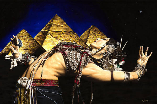 Bellydance Art Print featuring the painting Bellydance Of The Pyramids - Rachel Brice by Richard Young