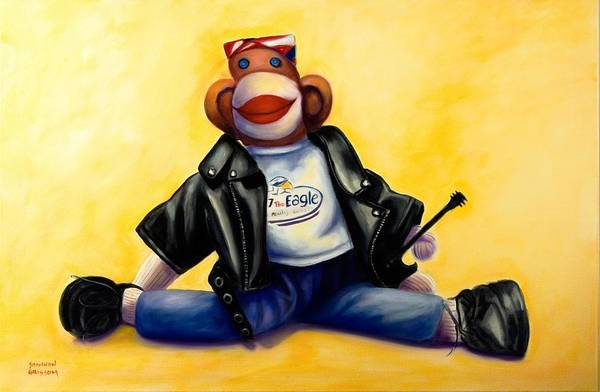Sock Monkey Brown Art Print featuring the painting Biker Dude Made Of Sockies by Shannon Grissom