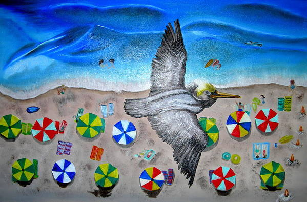 Pelican Art Print featuring the painting Bird by Kathern Welsh