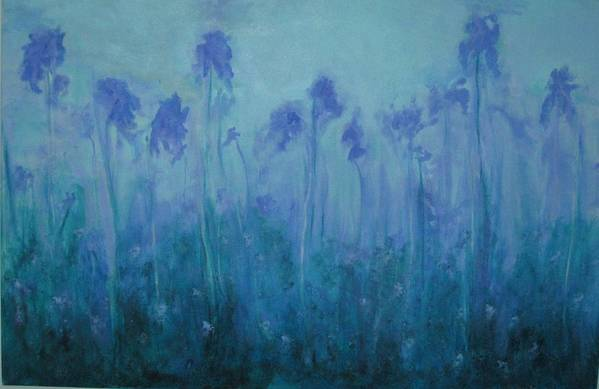 Blue Iris Art Print featuring the painting Blue Iris by Sheryl Sutherland