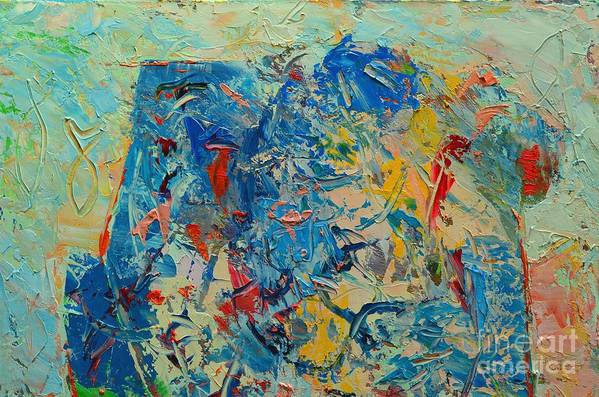 Blue Art Print featuring the painting Blue Play 5 by Ana Maria Edulescu