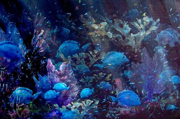 Blue Tang Art Print featuring the painting Blue Tang Sea Fan  by Ana Bikic