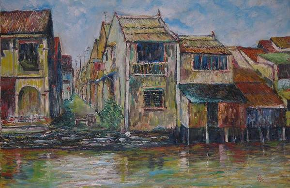 Landscape Art Print featuring the painting Boat Ride Along The Malacca River by Wendy Chua