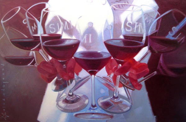 Wine Painting Art Print featuring the painting Bouquet Of Cabernet by Penelope Moore