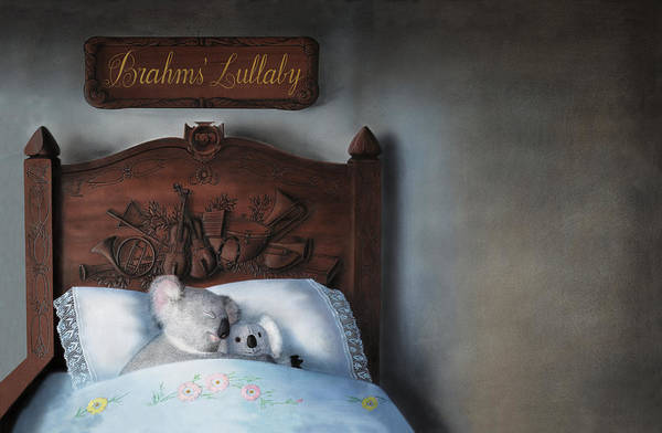 Koala Art Print featuring the painting Brahms' Lullaby by Philippe Plouchart