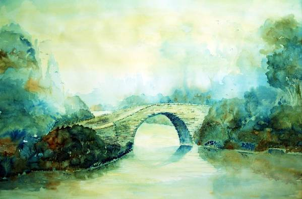 Brigadoon Bridge Art Print featuring the painting Brigadoon by Jane Heron