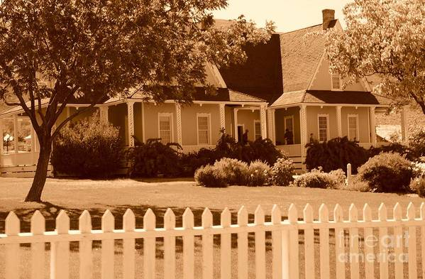Sepia Art Print featuring the photograph Brigham Young Home by Dennis Hammer