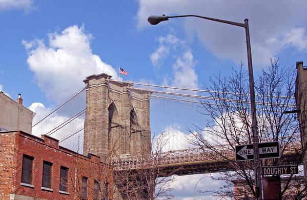 Brooklyn Bridge Art Print featuring the photograph Brooklyn Bridge From Doughty Street by Frank Winters