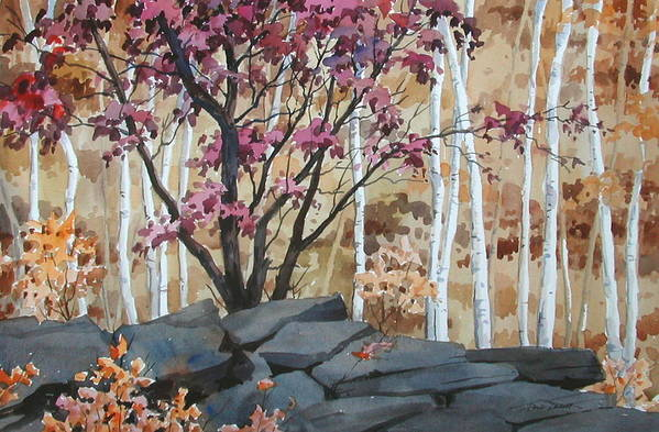 Fall Art Print featuring the painting Burgundy On The Rocks by Faye Ziegler